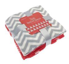 Confezione da 2 Snuggly Morbido in Pile Albero Natale & Zig Zag Stripe coperte 120 x 150cm