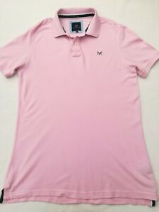 """Men's CREW CLOTHING CO. polo shirt Large chest 42"""" short sleeves pink embroidere"""