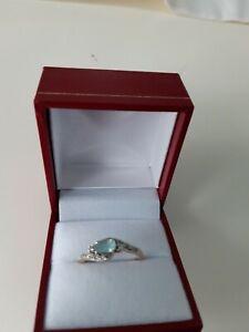 Paraiba  pale blue Tourmaline and zircon 9k Gold Ring size n