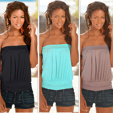 Women BOHO Strapless T-shirt Ladies Bandeau Loose Boob Tube Top Tank Blouse Vest