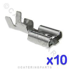 10 x HEAT RESISTANT HIGH TEMPERATURE 6.3mm PUSH FIT SPADE TERMINAL CONNECTORS