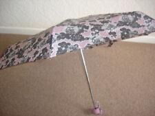 Totes Mini Pink Grey Floral Thin Umbrella (5 Section)