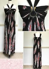 Womens Crossroads Maxi Dress Size L 14 16 Black Red Strap Feather Snake New