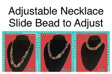 Adjustable Crochet Yarn Necklace Handmade Ladder ribbon trellis multi color gem