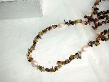 "Freshwater Pearl, Multi Agate, Endless Necklace, 38"" inch, Strand/String"