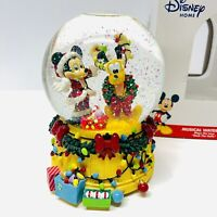 "Enesco Disney Mickey & Pluto Musical Waterball  5.5"" Snow Globe - Deck the Halls"