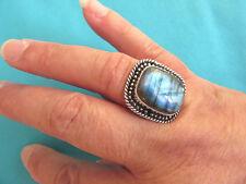 925 Sterling Silver Ring With Blue Schiller Labradorite UK Q, US 8.25 (rg2797)
