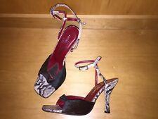 Donald J Pliner Sandals 8.5 Heels Ankle Strap Snake Leather Black Cow Fur Italy