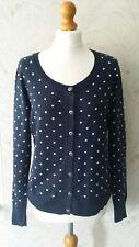 H & M Logg Navy Blue & Pink Spotty/Polka Dot Cardigan Size EUR M