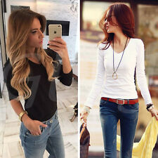 Women Casual Tops New T-Shirt Loose Fashion Blouse Cotton Blouse Long Sleeve NEW
