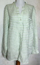 COLDWATER CREEK {1X} Green & White Stripe Long or Tabbed Sleeve Linen Tunic Top