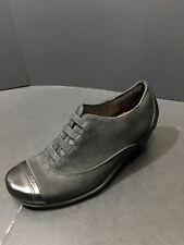 NAOT Royal Black Velvet Leather Capped Toe Oxford Heels Size EU 36