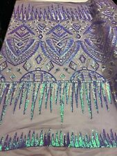 Iridescent Lilac/silver Hologram 4-Way Stretch Nylon Spandex Mesh Sequins By Yar
