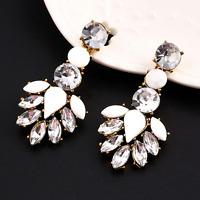 Women Elegant Crystal Resin Water Drop Ear Stud Eardrop Dangle Earrings Jewelry