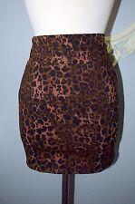 Brown Black Leopard High waisted Waist Mini Skirt Pin Up Punk Cotton on Small S