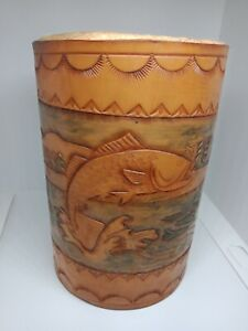 VINTAGE LEATHER TALL BOTTLE HOLDER WITH FISH SCENE