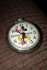 Vtg Disney Men's Bradley Mickey Mouse Wind Up Silver Tone Pocket Watch - RUNS