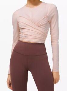 LULULEMON Size 10 Gather and Grow Long Sleeve Pima Cotton Top Pink FEPI Yoga NWT