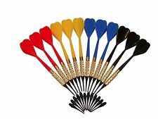 12 Plastic Soft Tip Brass Dart Set 50 extra tips BLUE RED YELLOW BLACK