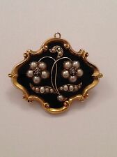 Finest Quality Victorian 9ct Gold Black Enamel, Seed Pearl & Rose Diamond Brooch