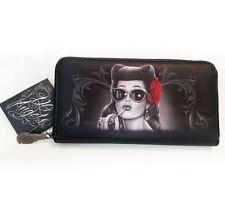 DGA Day of the Dead Rockabilly Glamorous Red Rose Women's Zipper Clutch Wallet