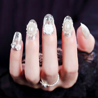 24Pcs Pearl Flower False Nail Tips Artificial Fake Tips Full Nails Art Polish FE