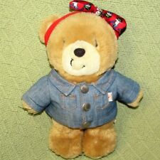 "9"" 1993 PAWS for THOUGHTS Teddy Plush Bear BRITANNIA Toys UK Stuffed JEAN JACKET"