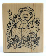 Rare Psx F-2126 Beary Christmas! Rubber Stamp Wood Mounted