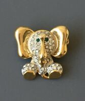 Vintage  Baby Elephant Brooch In gold tone metal with Crystals