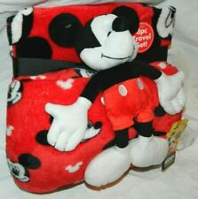 Disney Mickey Mouse 3 Piece Travel Set Pillow Blanket & A Plush Mickey Mouse
