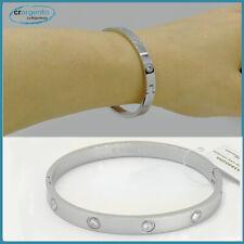bracciale braccialetto da donna a rigido con zirconi in acciaio fascia manetta o
