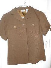 NWT Emma James Petite Size 4 Women's Brown Button Down Short Sleeve Shirt $69