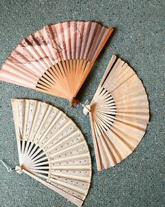 3 Antique folding fans, Silk, bamboo paper hand painted