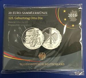 BRD - 20 Euro Sammlermünze 125. Geburtstag Otto Dix 2016 Spiegelglanz OVP