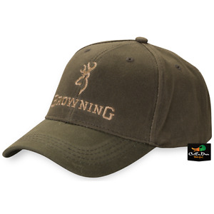 NEW BROWNING DURA WAX SOLID COLOR OLIVE BALL CAP HAT BUCKMARK LOGO ADJUSTABLE