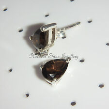 Smoky Quartz Natural Gemstone Stud Earrings 925 Sterling Silver 5x8mm  Teardrop