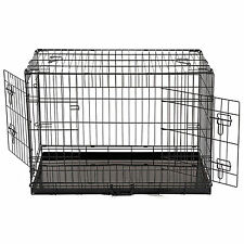 """36"""" Portable Dog Pet Cage Collapsible Metal Crate Kennel House  2 Door Black"""