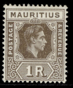 MAURITIUS GVI SG260, 1r grey-brown, LH MINT. Cat £45. CHALKY
