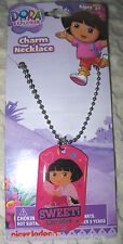 Nick Jr. Kids  Dora Sweet Muy Dulce Dog Tag Necklace Birthday PARTY FAVORS-NEW