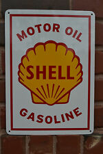 SHELL MOTOR OIL & GASOLINE VINTAGE Style METAL Gas Pump SIGN Advertise ShipsFree