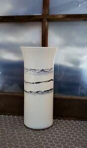 Tall White Glass Vase/Hand Painted Black White Glass Vase