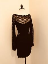 $300 ANTHROPOLOGIE Free People  Black Lace Classy Long Sleeve Dress XS