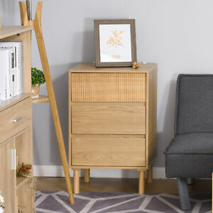 HOMCOM 3-Drawer Storage Cabinet Bedside Table w/ Wood Legs Living Room Bedroom