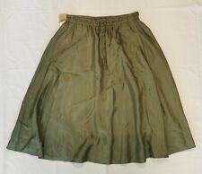 Pure DKNY Army Green Silk Skirt Sz P Small Midi Length NWT Lightweight