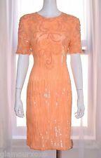 Vintage JEWEL QUEEN Peach Beaded Sequin Silk Evening Cocktail Dress Medium M VTG