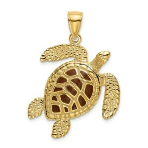14k Yellow Gold 3-D Brown Enamel Textured Sea Turtle Charm for Women 8.31g
