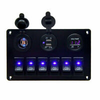 6 Gang Blau LED Schalter Schaltpanel Schalttafel Voltmeter 12V 24V Bus Boot RV