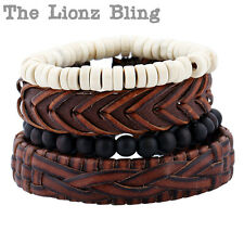 All Natural Vintage style 4 Stacked Genuine Leather & Wood Bead Bracelets