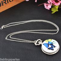 Damen Taschenuhr Quarz Ketteuhr Halskette Pulloverkette Uhren Silber 83cm