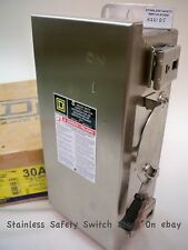Square D Stainless H221DS 30a 240v 1ph Fused Safety Switch 12 Available NEW